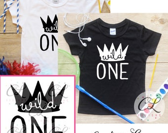 Birthday Boy Shirt or Bodysuit / Wild One Shirt Wild Thing Birthday Shirt 1 T-Shirt Cake Smash Outfit King First Baby Boy Crown Shirt 021