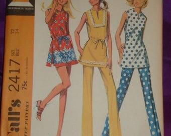 1970s 70s Vintage Mod Sleeveless Tunic Slash Neck Side Slits Shorts Border Print Opt n Pants UNCUT McCalls Pattern 2417 Bust 34 Inch 87 CM