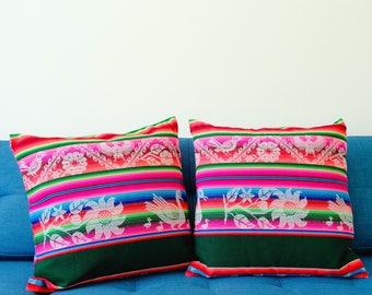 Bohemian Throw Pillow  - Ethnic Pillow cover - Bolivian Aguayo Fabric - Decorative Pillow Cases
