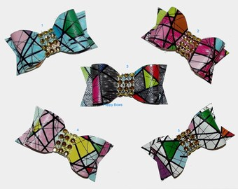 Puppy Bows ~ Stained Glass barrette pet hair clip with rhinestone centers ~USA seller