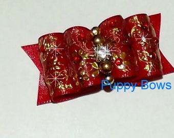 Puppy Bows ~ Brushstrokes Dog show bow  Shih Tzu RED painted floral rhinestone center ~USA seller