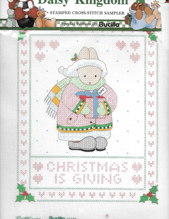 Puppy Bows ~ craft Buscilla Daisy Kingdom stamped cross stitch sampler 63449 Christmas is giving rabbit family