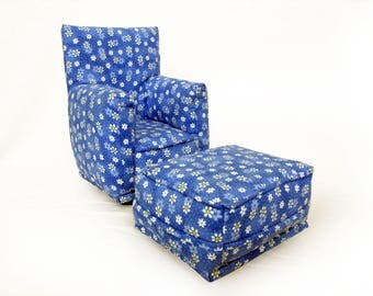 Barbie Doll Living Room Chair & Ottoman-Blue with White tiny flower print -1:6 Scale- works with any Blythe and 11 inch fashion doll