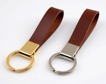 Leather Keychain Key ring fob lanyard