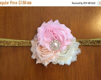 Pink, peach, ivory, and gold shabby flower trio headband