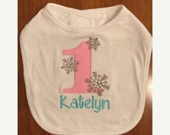 Pink, Grey, and Aqua Winter Onederland Bib With Name Embroidery