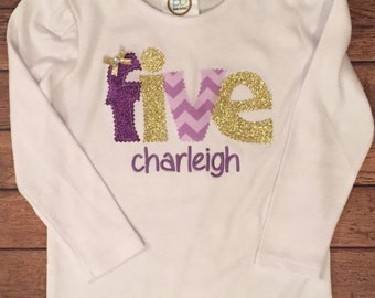 Purple and gold 5th birthday shirt or baby bodysuit with name embroidery