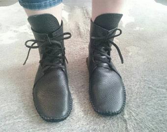 Men's leather Moccasin men's leather boots festival shoes  native American aztec leather bison hide hippie larp festival