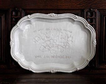 Large Customized Platter, Handmade Personalized Platter, Custom White Platter, Design Your Own Platter, Personalize Your Own Platter