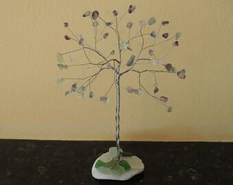 Sea glass tree, Gemstone tree, Wire tree, Wire tree Sculpture, Summer decoration, Sea glass decor, Fluorite gem tree, Protection crystals