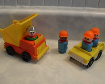 Vintage Fisher Price Construction Little People 1970's 80's Yellow Car,Dump Truck