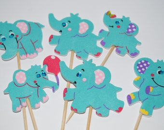 baby shower  its a boy blue elephant  cupcake toppers x 6