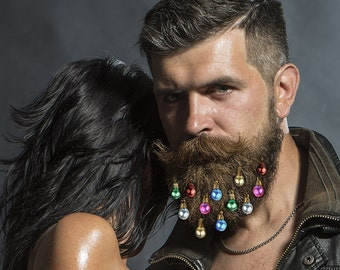 12 Beard Art Beard Ornaments Beard Bling  Christmas Beard Baubles For The Beard Baubles for the Beard Beard Bling