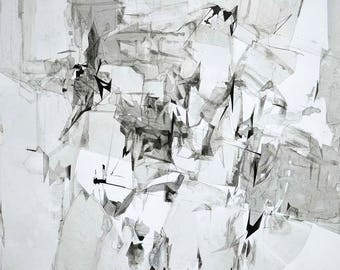 Original Ink Drawing, Abstract Art Drawing, 40x28 inches, Black and White Abstract Art, Contemporary Achromatic Ink Art