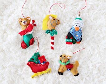 CHRISTMAS TREE ORNAMENTS | teddy bear in stocking, stick horse, penguin, santa's sleigh, & reindeer felt ornaments, set of five
