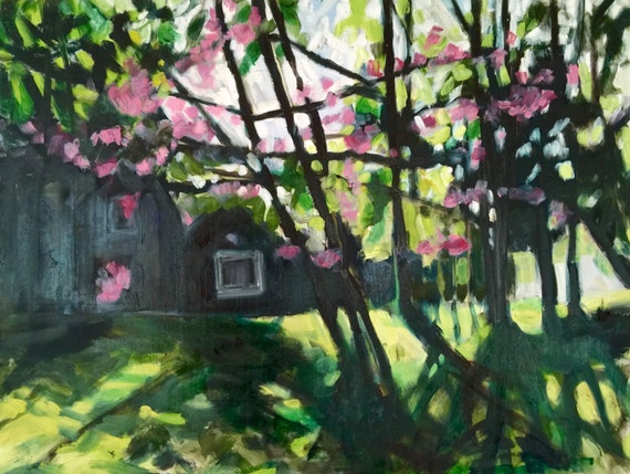 "Original Oil Painting: Redbud Spring, 24"" x 32"""