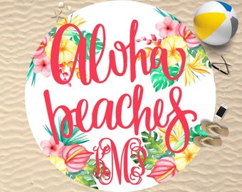 Aloha Beaches Towel | Personalized | Aloha Beaches | Round Beach Towel