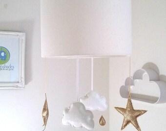 Pale Cream Star Lampshade, Gold Star Mobile, Glitter Stars, Cloud Baby Mobile, Nursery Girl Decor, Star Nursery Decor, Cloud Nursery Decor,