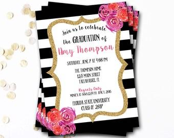 Pink Black And White Graduation Invitation, Pink And Black Graduation, Gold Graduation Invitation, Glitter Invitation, DIY Printable