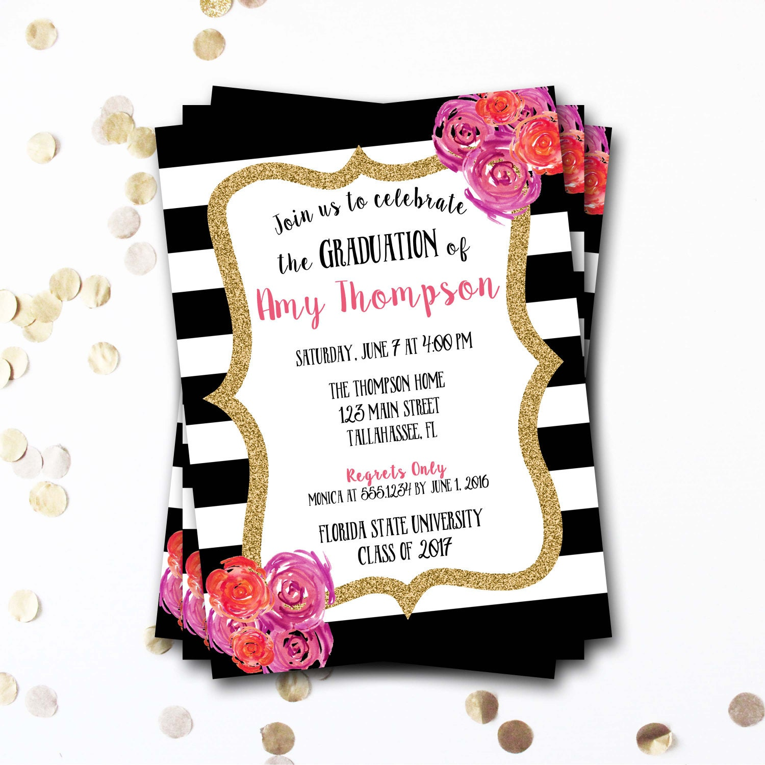 Pink Black And White Graduation Invitation Pink And Black