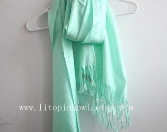 Mint Green Pashmina Scarf, Wedding Scarf, Gift For Her, Christmas Present, Christmas Gifts, For Her, For Women, For Mom, Womens Scarves