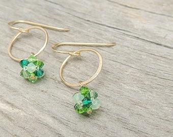 Gold Circle Earrings, Gold Earrings, Green Earrings, Delicate Earrings, Minimal Earrings, Romantic Jewelry For Her, Swarovski Earrings