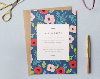 Poppy pattern wedding invite