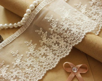 2 Yards Venice Lace Trim Beige Tulle Cotton Embroidery Floral Scalloped 3.54 Inch Wide