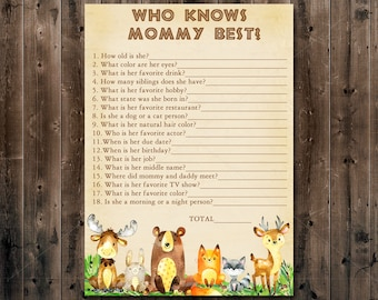 Woodland Baby Shower Who Knows Mommy Best Game, How Well Do You Know Mommy Game, Forest Animals Baby shower, Instant download  010