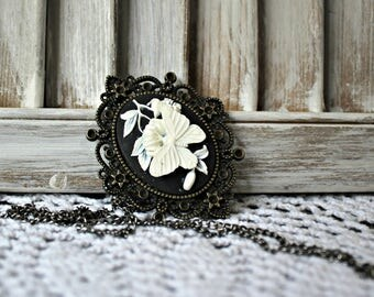 Handmade. Cameo. necklace. Butterfly. White & Black. Bronze/pewter/bezel/chain/ Very pretty!