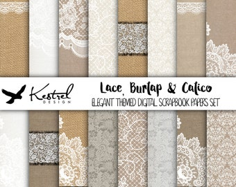 "12""x12"" - Lace, Burlap & Calico Digital Paper Pack - Kestrel Design DIY immediate download - printable paper crafts hessian wedding invites"