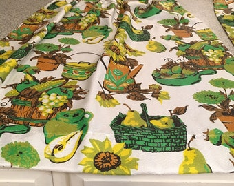 custom made pair of pinch pleat kitchen curtains green brown seventies