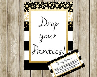 Panty Game, Black White and Gold, Bridal Shower Game, Printable Panty Game, Instant Download, Bridal Shower Games, 003