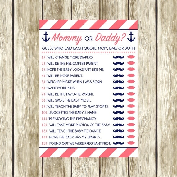 Mommy Or Daddy? Printable Baby Shower Game, Nautical Baby Shower, Instant  Download, Mom Or Dad, Who Said It? Pink And Navy, Itu0027s A Girl, 002