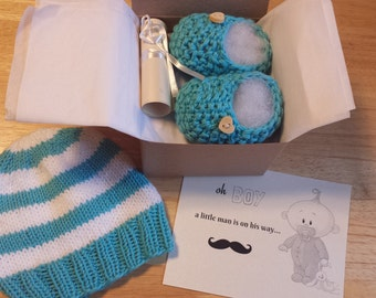 Baby boy Hat and Booties, Pregnancy Announcement, Baby Boy reveal, Crochet booties and hat, Ready to ship !