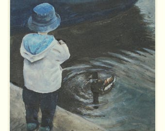 Limited Edition Print, Little GIrl And Her Duck by Laurel Moore