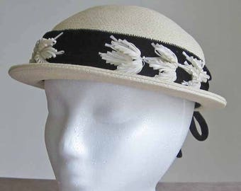 White and Black Cloche Hat Vintage 1960's with Black Velvet Banded Brim Size 22 Black Bow in the Back