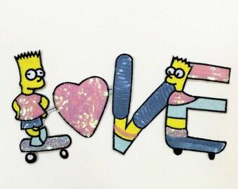 The Simpsons Patch Love Sequin Patch Applique 019