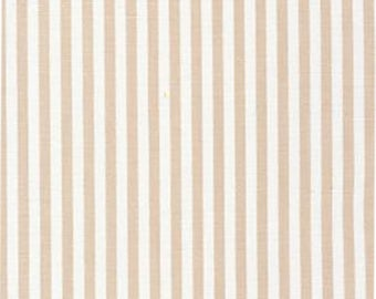 "Khaki and White 1/8th inch Stripe Fabric - 60"" wide - 100% cotton Fabric Finders Inc"