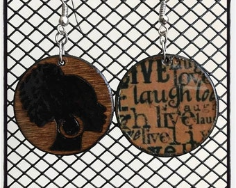 """Afro Puff Earrings with """"livelovelaugh"""" graphic back"""