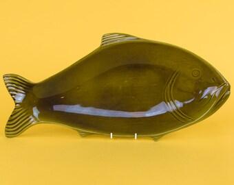 Vintage Large Tanagra Santander Green Ceramic Fish Platter