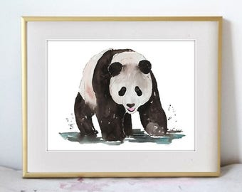 Watercolor Painting Print 'The Giant Panda' -- Black and White Home/office decor and wall art, Animal print of Panda Bear