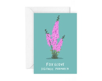 Foxglove greetings card - botanical plant stationery