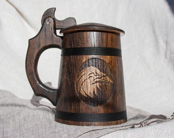 Personalized Wood Beer Mug with the Lid 0.6 L (20 oz), Wooden Mug, Wood Mug, Wooden Tankard, Tankard, Beer Mug, Father of the Groom gift