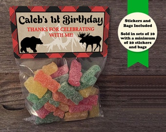Lumberjack Treat Bags, Birthday Party Treat Bags, Lumber Jack Favors, Lumberjack Party Favors, Lumberjack Sticker, Lumberjack Baby Shower
