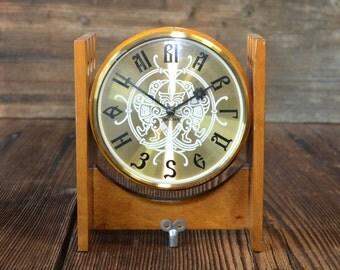 VESNA soviet clock 80s, art deco clock, home decor,wooden case art deco clock,WORKING!