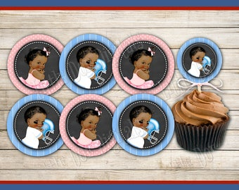 INSTANT DOWNLOAD - Touchdowns or Tutus - Football - Gender Reveal - Cupcake Toppers African American - Boy or Girl - Pink or Blue