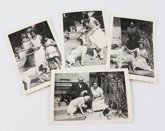 Antique Photo Collection, Vintage Photography Set of 4, Old Photographs Dog Pictures, Photography of Women, Black and White Photos, E457