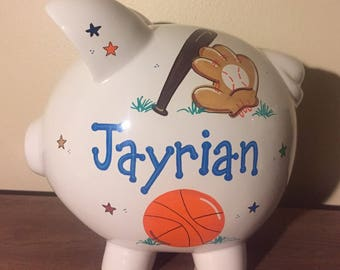 Personalized Boys Sports Piggy Bank