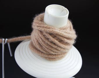 Tumbleweed Brown Felted Cashmere Cord - handmade from reclaimed cashmere